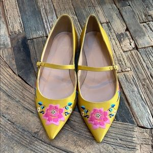 J.CREW Embroidered Satin Mary Jane Flats